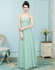 A-Line Spaghetti Straps Mint Green Tulle Bridesmaid Dress with Lace