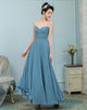 A-Line Spaghetti Straps Dusty Blue Chiffon Bridesmaid Dress with Beading