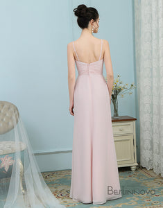 A-Line Straps Ice Pink Ruched Chiffon Appliques Bridesmaid Dress