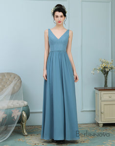 A-Line V-Neck Dusty Blue Chiffon Bridesmaid Dress with Lace