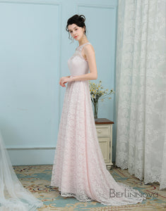 A-Line Round Neck Open Back Ice Pink Lace Bridesmaid Dress