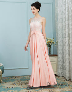 Stylish Jewel Sleeveless Pink Long Bridesmaid Dress with Sash