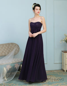 Sweetheart Eggplant Chiffon Long Wedding Party Dress