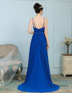Elegant Royal Blue Chiffon Open Back Wedding Party Dress