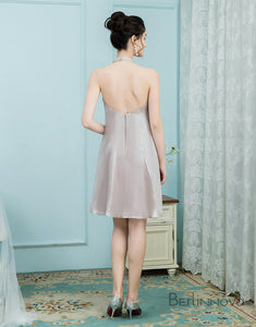 A-line Halter Neck Short Stain Bridesmaid Dress