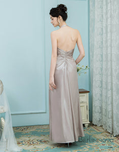 A-Line Halter Champagne Elastic Satin Bridesmaid Dress with Ruched