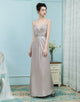 A-Line Spaghetti Straps Champagne Ruched Elastic Satin Bridesmaid Dress