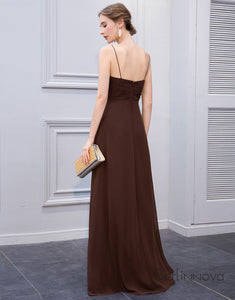 Simple Chiffon Spaghetti Straps Brown Long Bridesmaid Dress