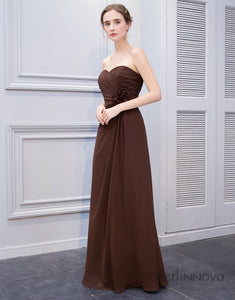 Sweetheart Brown Chiffon Long Wedding Party Dress