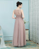 A-Line Bateau Pleated Rum Pink Tulle Bridesmaid Dress