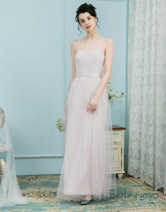A-Line Square Floor-Length Ice Pink Tulle Bridesmaid Dress