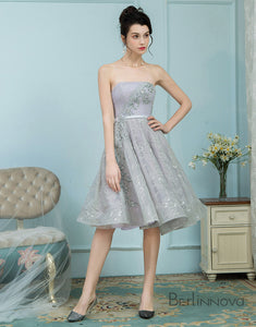 A-Line Strapless Grey Lace Homecoming Dress Ball Gown with Rhinestones