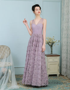 A-Line V-Neck Open Back Lavender Long Bridesmaid Dress with Flower