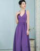 A-Line Scoop Pleated Lavender Chiffon Bridesmaid Dress