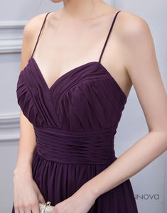 Elegant Purple Chiffon Spaghetti Straps Long Bridesmaid Dress