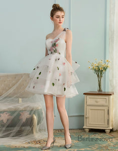 A-Line One Shoulder Open Back White Homecoming Dress with Appliques
