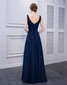Simple Deep V-Neck Navy Blue Long Wedding Party Dress