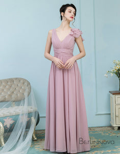 A-Line V-Neck Floor-Length Blush Chiffon Bridesmaid Dress