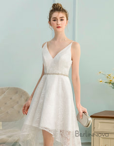 High Low V-Neck Asymmetrical Ivory Lace Homecoming Dress
