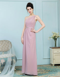 A-Line One Shoulder Blush Chiffon Bridesmaid Dress with Sash