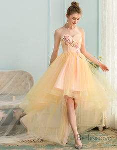 A-Line Sweetheart High Low Yellow Stretch Satin Homecoming Dress with Appliques
