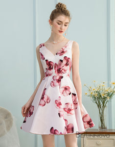 A-Line V-Neck White Floral-Printed Satin Short Homecoming Dress
