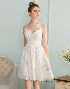 A-Line V-Neck Sleeveless Short White Lace Homecoming Dress