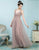 A-Line V-Neck Pleated Tulle Blush Pink Bridesmaid Dress with Appliques