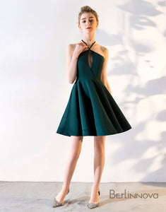 A-Line V-neck Knee-Length Hunter Satin Homecoming Dress