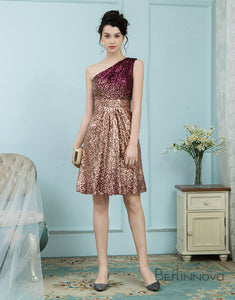Glitter Omber Gold One Shoulder Short Sequines Pleats Homecoming Dress