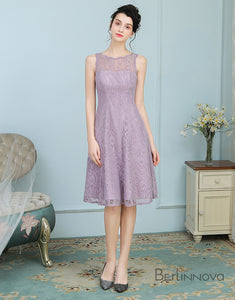 Elegant Lilac Lace Midi Bridesmaid Dress