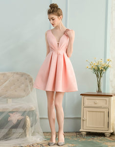 A-Line Deep V-Neck Short Pink Homecoming Dress