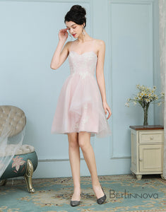 A-Line Spaghetti Straps Ice Pink Tulle Bridesmaid Dress with Lace