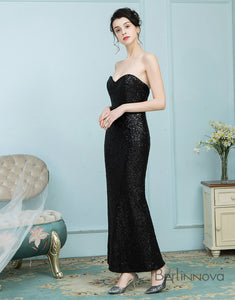Strapless Long Sequined Bridesmaid Dress