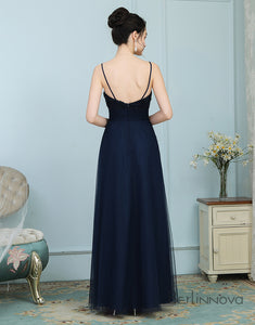 A-Line Spaghetti Straps Floor-Length Navy Blue Chiffon Bridesmaid Dress