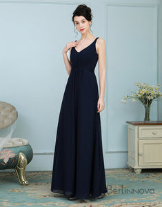 Simple Navy Blue Long Bridesmaid Dress