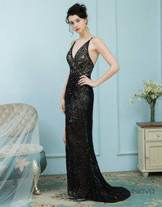 Sheath V-Neck Prom Dress Black Lace Long Evening Dress