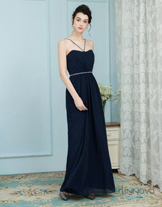A-Line Cross V-Neck Navy Blue Chiffon Bridesmaid Dress with Beading
