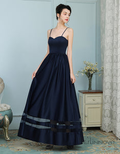 Navy Blue Spaghetti Straps Long Wedding Party Dress