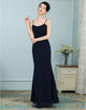 A-line Spaghetti Strap Long Chiffon Bridesmaid Dress