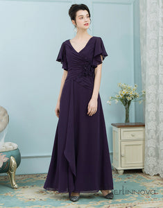 A-Line Short Sleeves Long Chiffon Mother of The Bride Dresses