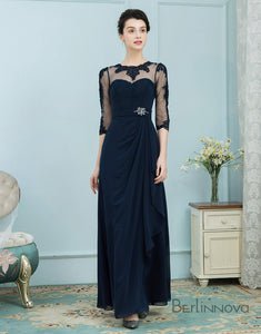Navy 3/4 Sleeves Long Mother of The Bride Dresses