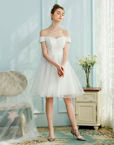 A-Line Off-the-Shoulder Short Sleeves White Homecoming Dress