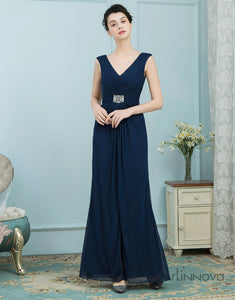 Sheath V-Neck Navy Blue Chiffon Bridesmaid Dress with Beading Split