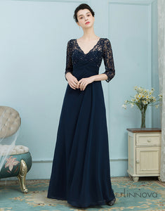 V-Neck 3/4 Sleeves Petite Mother of The Bride Dresses