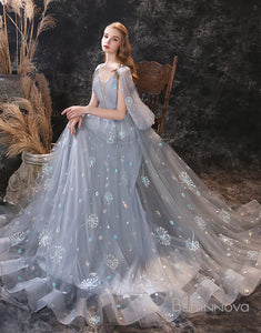 A-Line V-Neck Backless Grey Long Prom Dress With shawl
