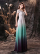 Unique Short Sleeve Ombre Mint Chiffon Wedding Dress