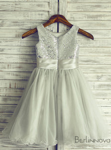 A-Line Round Neck Navy Blue Tulle Flower Girl Dress