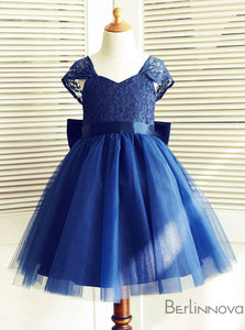 A-Line Backless Navy Blue Flower Girl Dresses with Lace Sash