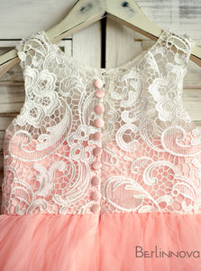 A-Line Jewel Rose Pink Flower Girl Dress with Lace